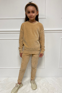 Mini FLORENCE Camel Velour Pin Stripe Jogger Set
