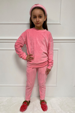 Load image into Gallery viewer, Mini FLORENCE Pink Velour Pin Stripe Jogger Set