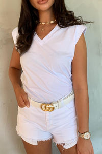 GINA White Shoulder Pad V Neck Top