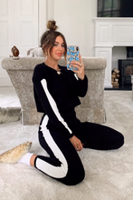 Load image into Gallery viewer, VALENTINA Black And White Side Stripe Contrast Knitted Loungewear Set