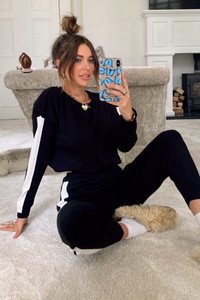 VALENTINA Black And White Side Stripe Contrast Knitted Loungewear Set
