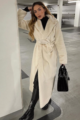 EMILIA Cream Belted Faux Fur Coat