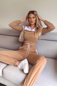 VOGUE Camel And White Contrast Stripe Zip Lounge Set