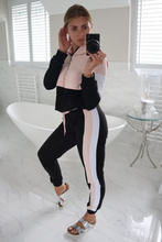 Load image into Gallery viewer, CHLOE Pink and Black Zip Detail Hooded Tracksuit