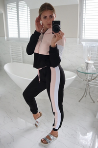 CHLOE Pink and Black Zip Detail Hooded Tracksuit