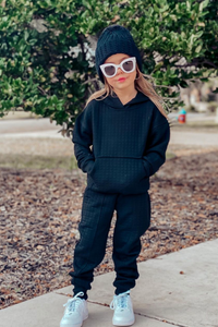Mini COCO Black Waffle Texture Hooded Loungewear Set