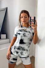 Load image into Gallery viewer, JADA Black Tie Dye Cycling Short Co-ord