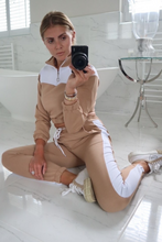 Load image into Gallery viewer, VOGUE Camel And White Contrast Stripe Zip Lounge Set