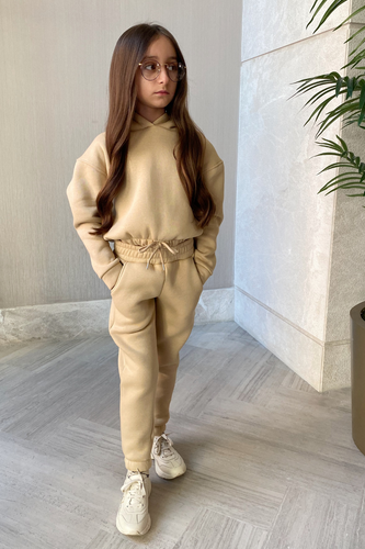 Mini LARA Camel Hooded Crop Lounge Set