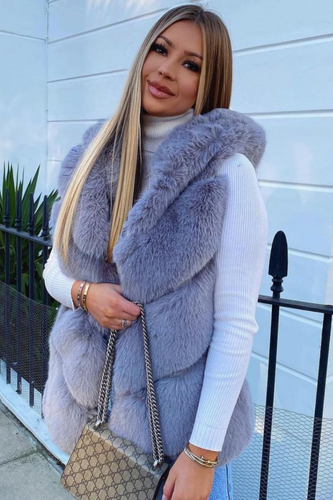 CLAUDETTE Grey Faux Fur Hooded Gilet