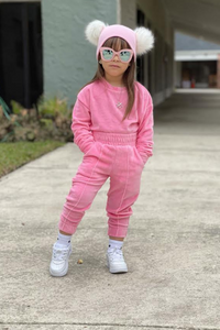 Mini FLORENCE Pink Velour Pin Stripe Jogger Set