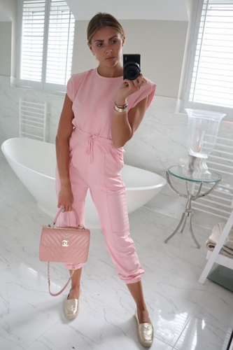 REECE Pink Shoulder pad Boxy Fit Loungewear Set