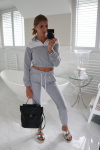 VOGUE Grey And White Contrast Stripe Zip Lounge Set