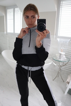 Load image into Gallery viewer, CHLOE Grey and Black Zip Detail Hooded Tracksuit