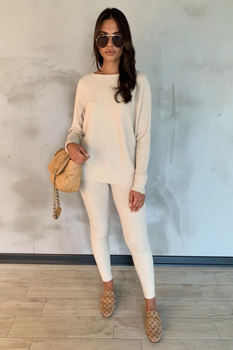 CLAIRE Cream Ribbed Leggings Loungewear set