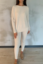 Load image into Gallery viewer, CLAIRE Cream Ribbed Leggings Loungewear set