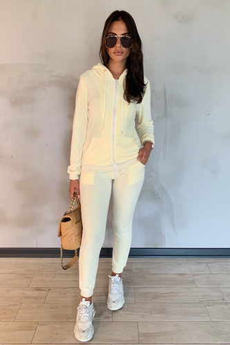 GABRIELLA Cream Velour Hooded Tracksuit