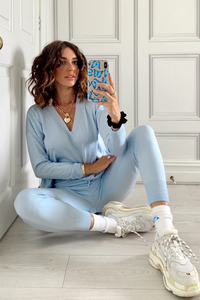 KOURTNEY Baby Blue Knitted V Neck Loungewear set