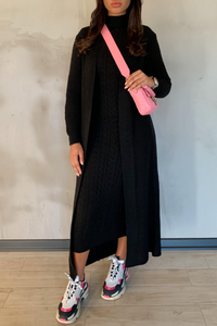 CARLA Black Maxi Cardigan And Dress Knitted Set