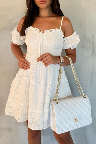 PERRY White Cold Shoulder Broderie Anglaise Tiered Dress