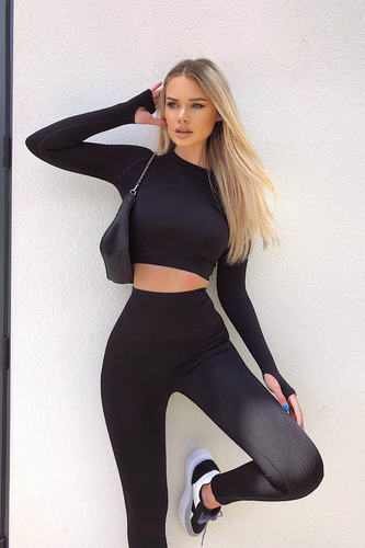 Celina Black Seamless Active Wear Set Loungewear