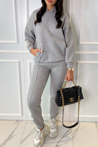 COCO Grey Waffle Texture Hooded Loungewear Set