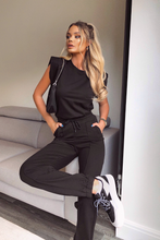Load image into Gallery viewer, REECE Black Shoulder pad Boxy Fit Loungewear Set
