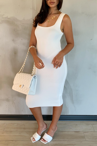 SORELLI White Square Neck Midi Dress