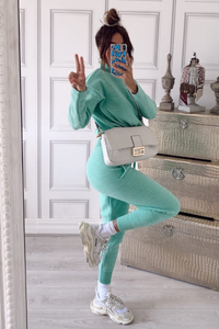 KELSEY Mint High Neck Fitted Lounge Set