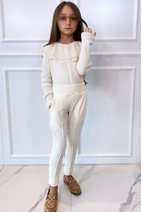 Mini CLAUDIA Cream High Waisted Toweling Joggings