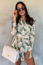 Load image into Gallery viewer, CLARISSA Mint Leaf Print Split Side Shirt Dress
