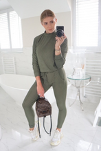 Load image into Gallery viewer, POLLY Khaki Checked High Neck Fitted Loungewear Set