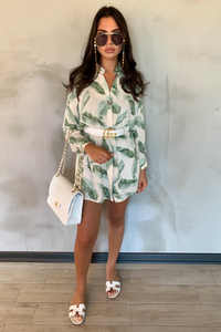 CLARISSA Mint Leaf Print Split Side Shirt Dress