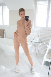 POLLY Camel Checked High Neck Fitted Loungewear Set