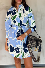 Load image into Gallery viewer, HOLLIE Blue Floral Print Belted Shirt Dress