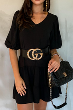 Load image into Gallery viewer, CAMILLE Black Tiered Belted Puff Sleeve Smock Dress