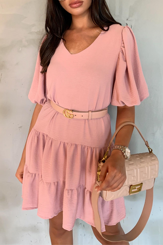 CAMILLE Pink Tiered Belted Puff Sleeve Smock Dress