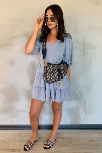 CAMILLE Blue Tiered Belted Puff Sleeve Smock Dress