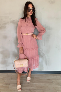 LUCY Pink Polka Dot Frill Detail Tiered Midi Dress