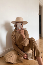 Load image into Gallery viewer, DONELLE Camel Ribbed Wide Leg Hooded Loungewear set