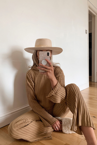 DONELLE Camel Ribbed Wide Leg Hooded Loungewear set