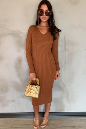 FLORELLI Camel Ribbed V Neck Midi Dress