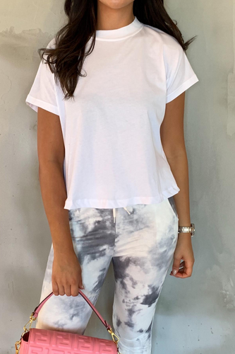 BELLA White Boxy Cropped T-Shirt