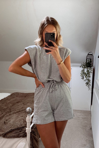 FLORENCE Grey Shoulder pad Boxy Fit Short Co-ord