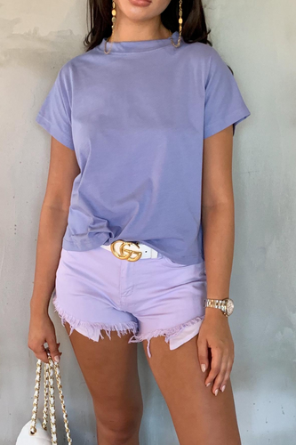 BELLA Lilac Boxy Cropped T-Shirt