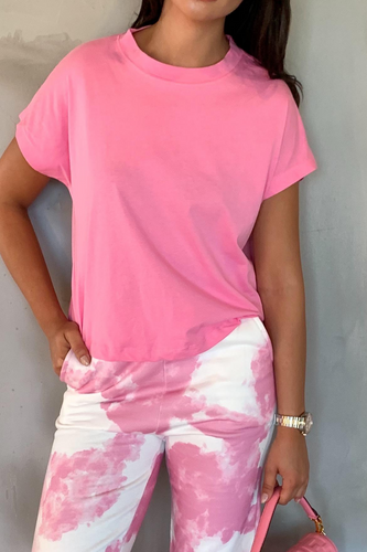 BELLA Pink Boxy Cropped T-Shirt