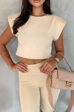 Load image into Gallery viewer, LOREN Cream Shoulder Pad Cropped Top