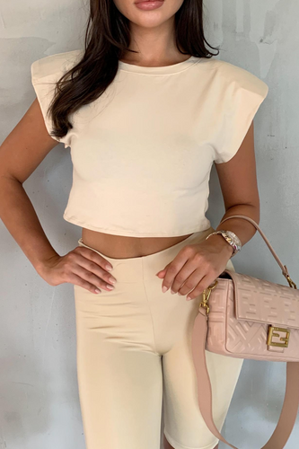 LOREN Cream Shoulder Pad Cropped Top