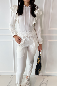 CAPRICE White Frill Detail Hooded Loungewear