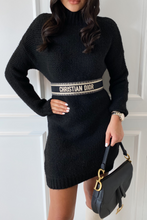Load image into Gallery viewer, BILLIE Black Turtle Neck  Knitted Jumper Dress